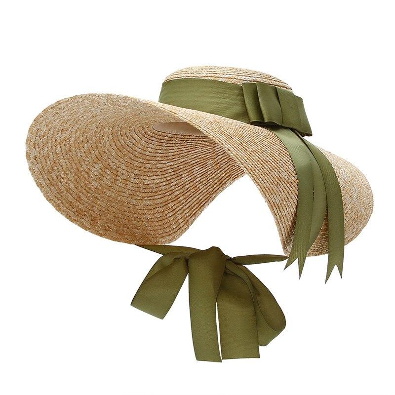 Chapeau à large bord en paille style cap ...