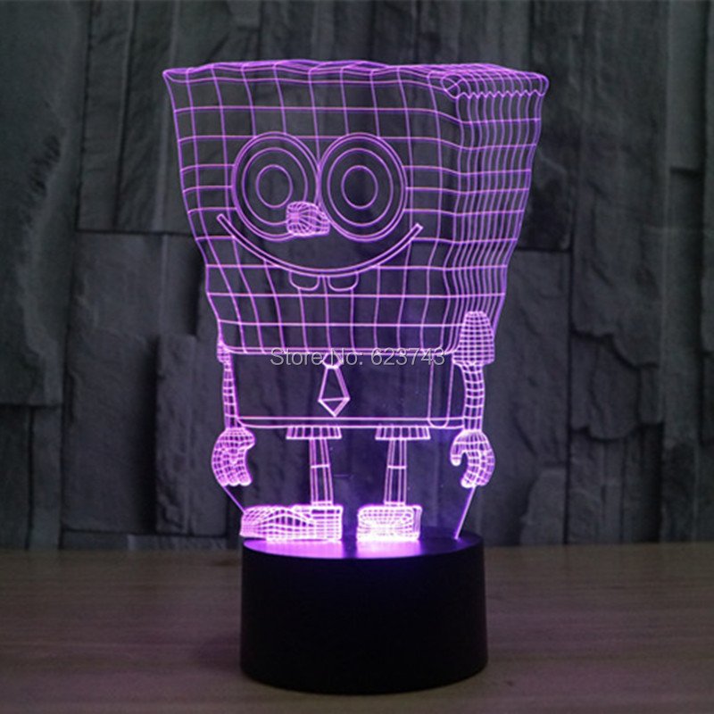 Free Shipping 7 Color changing 3D SpongeBob Squarepants Plastic LED - Night Lights - Photo 2