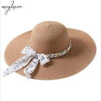 Maylisacc 2019 Fashion Summer Women Straw Sun Hat Elegant Lady Wide Brim Panama Mmetal Chain Hat Fedora sunbonnet Hat Beach Cap