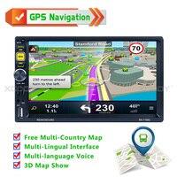 7 ''Навигатор Автомобильный Gps навигатор автомобильный радиоприемник 2 Din Bluetooth руки свободно MP5 плеер HD Сенсорный экран AUX Fm Бесплатная карта
