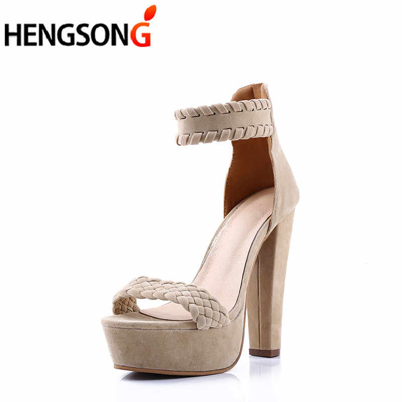 2018 Ayak Bileği Kayışı Topuklu Kadın Sandalet Yaz Ayakkabı Açık Ayak Süet Yüksek Topuklu 16 cm Bayan Parti Elbise Sandalet Platformu düğün Ayakkabı