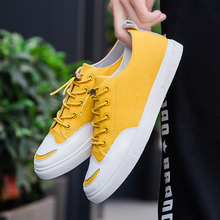 Hot Sale Men Walking Footwear Canvas Yellow  Mens Sneakers Summer Vulcanized Shoes Elastic Band Casual Ankle