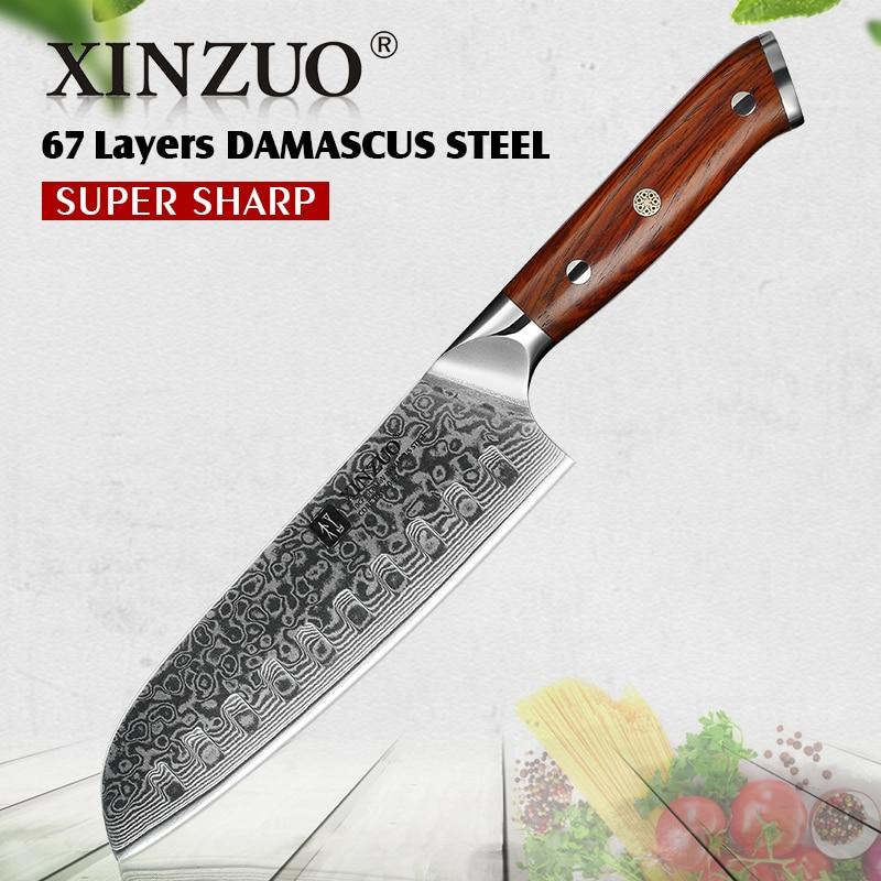 XINZUO couteau Santoku 7 pouces couteau de Chef japonais vg10 couteau de cuisine professionnel en acier damas avec manche ergonomique en bois de Rose