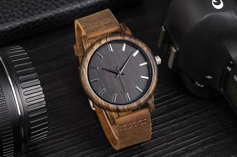 SIHAIXIN Man Watches Classic Luxury Leather Straps Quartz Male Clock Engraved With Personal Text Wood Wristwatch Gift For Him 5