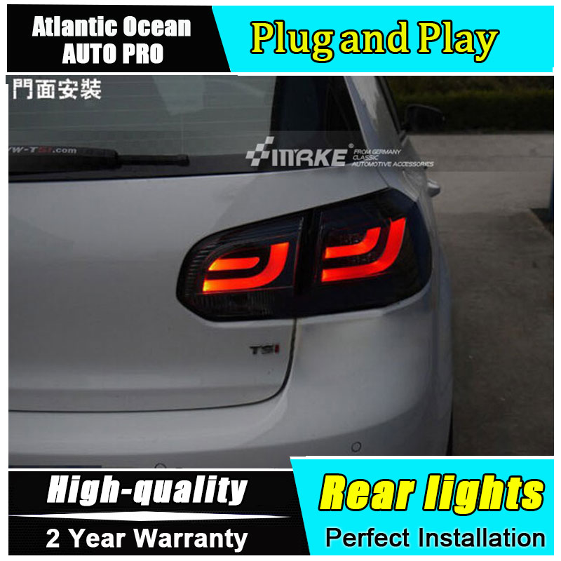 For vw golf 6 led taillights parking 2009 2013 vw golf MK6 led tail lamps golf 6 led rear lights led light guide car styling