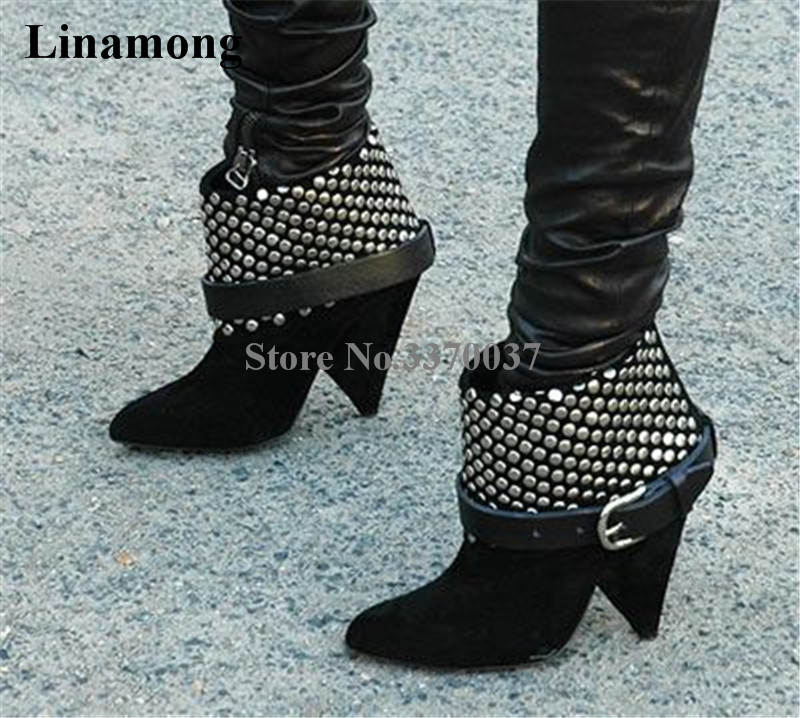 New Fashion Women Pointed Toe Black Suede Leather Spike Heel Ankle Boots Rivet Ankle Buckle High