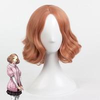 Persona Haru Okumura Cosplay peluca para las mujeres Niñas corto rizado ondulado resistente al calor Pelo sintético anime Costume party marrón