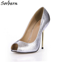 Sorbern Burst Crack Pumps Shoes Silver Women Dress Shoes Evening Party Pumps Metal Gold Heels Ladies