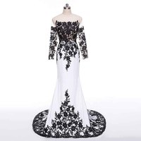 Robe De Soiree Fashion New Black And White Evening Dress With Long Sleeve Court Train Appliques Satin Prom Gown Formal Dresses