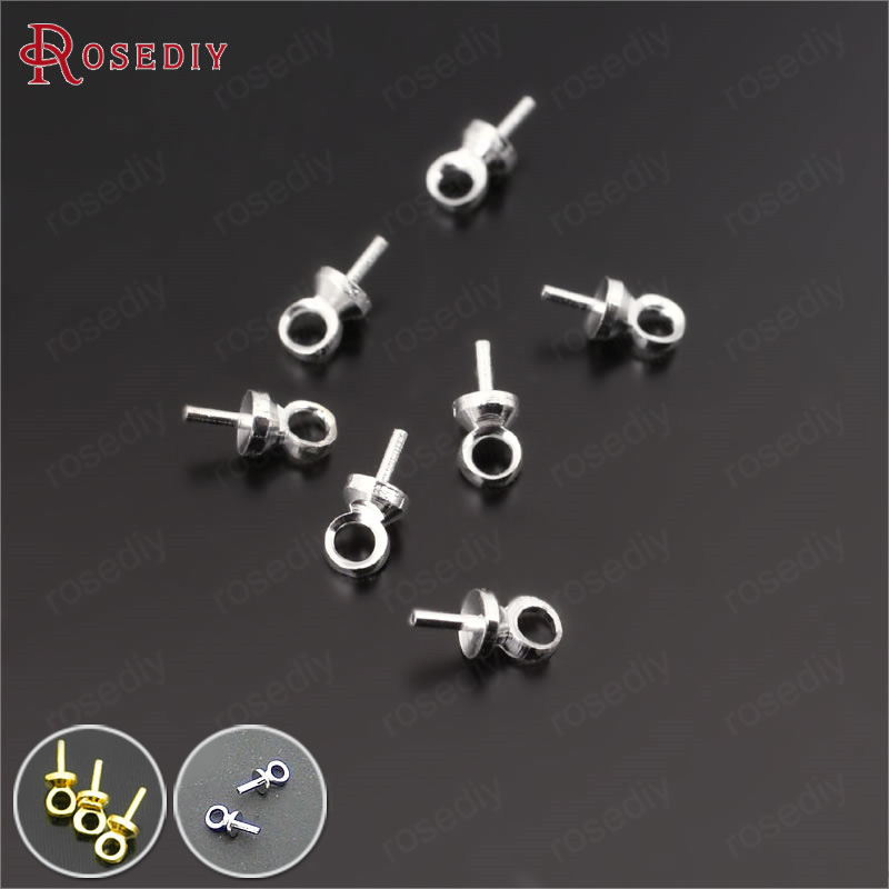 Nickel Plated 100 Little Threaded Screw in Peg Eye Pin Findings w// Loop for Half Drilled Beads