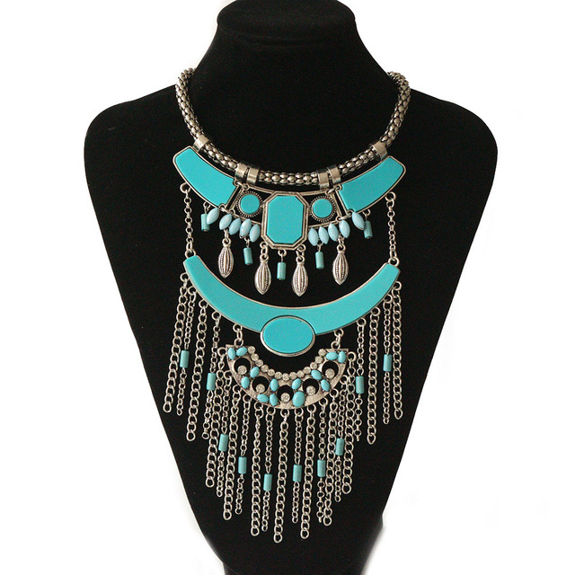 2017 marque maxi déclaration collier pendentifs gypsy vintage ethnique boho long gland collier choker collier femmes bijoux en gros