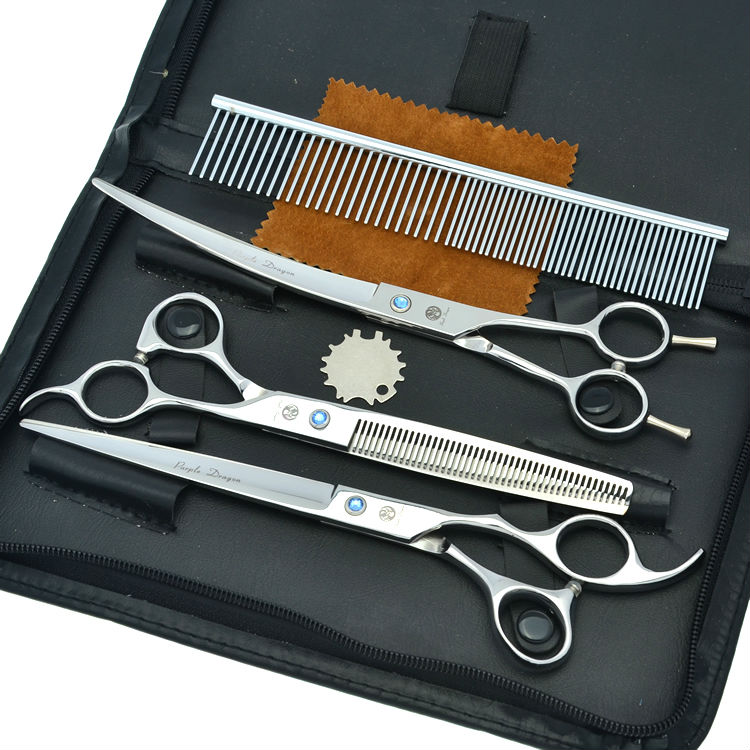 7 0 Professional Dog Grooming Scissors Set Pet Cutting Thinning Curved Shears Animals Hair Tool LZS0377
