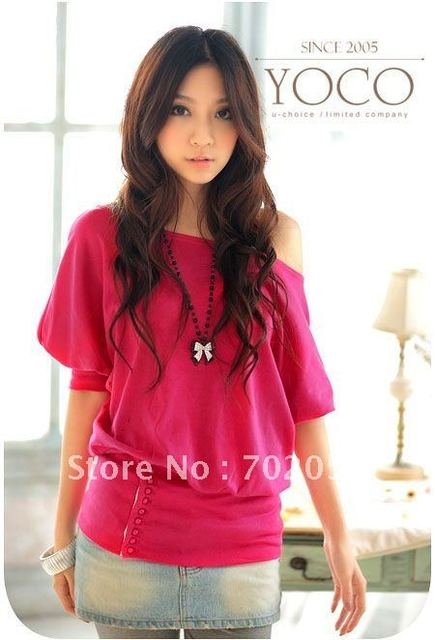 588241764e723 Free Shipping New Korea Sexy Off Shoulder Top Tops Stylish T-Shirts Blouse  Pink