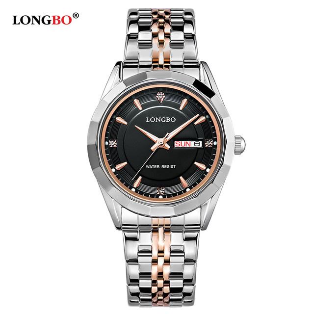 Longbo marca movt de quartzo relógios de pulso das mulheres de aço inoxidável de volta resistente à água homens datejust relógios relogio masculino 80164