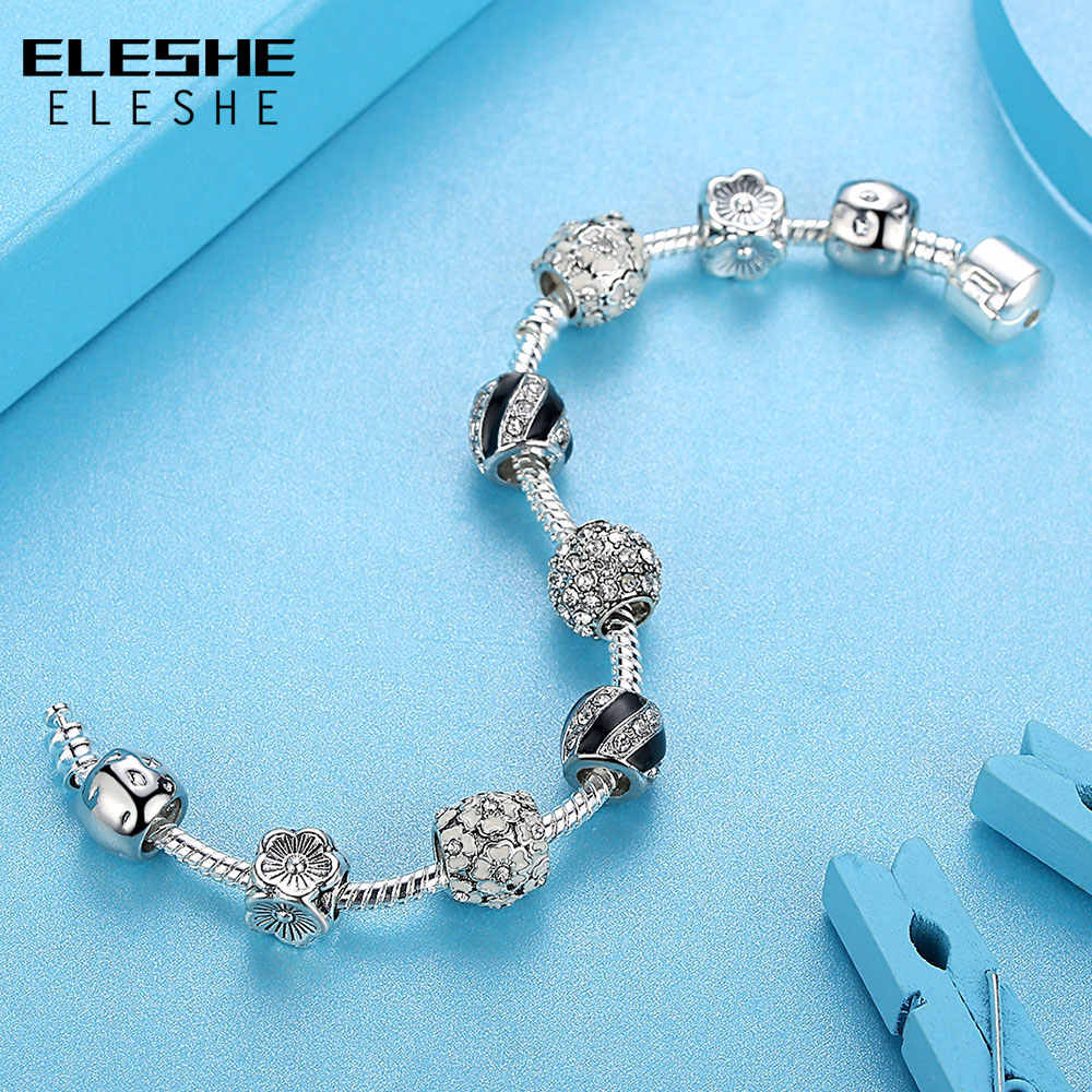 ELESHE браслет для женщин, браслет с кристаллами и бусинами, очаровательный браслет, оригинальный браслет-цепочка в виде змеи для женщин, подлинные ювелирные изделия, рождественский подарок
