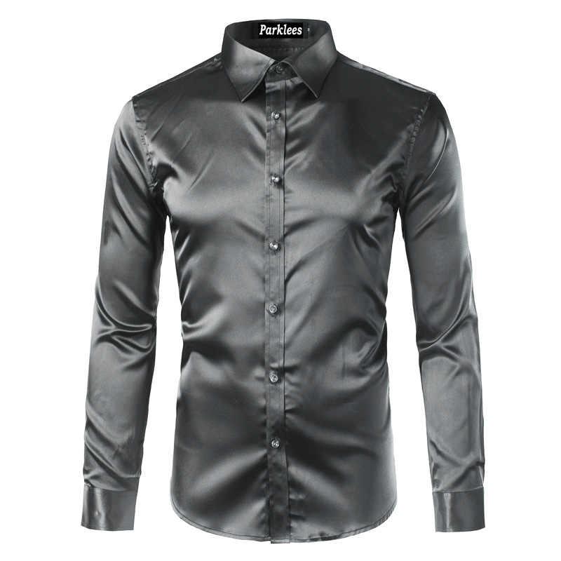 高品質シルクサテンシャツ男性シュミーズオム 2017 カジュアル長袖スリムフィットメンズドレスシャツビジネス結婚式の男性シャツ