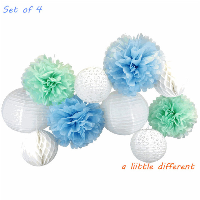 10pcs Set White Cornflower Mint Green Rock A Bye Blue Lanterns Poms And Honeycomb Party Decorating Kit For Baby Shower Supplies
