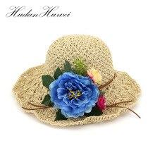 Primavera Verano mujeres Sun sombreros moda señora Large Brim plegable  sombrero de paja casquillo de la playa de protección sola. 0bf563ef49e