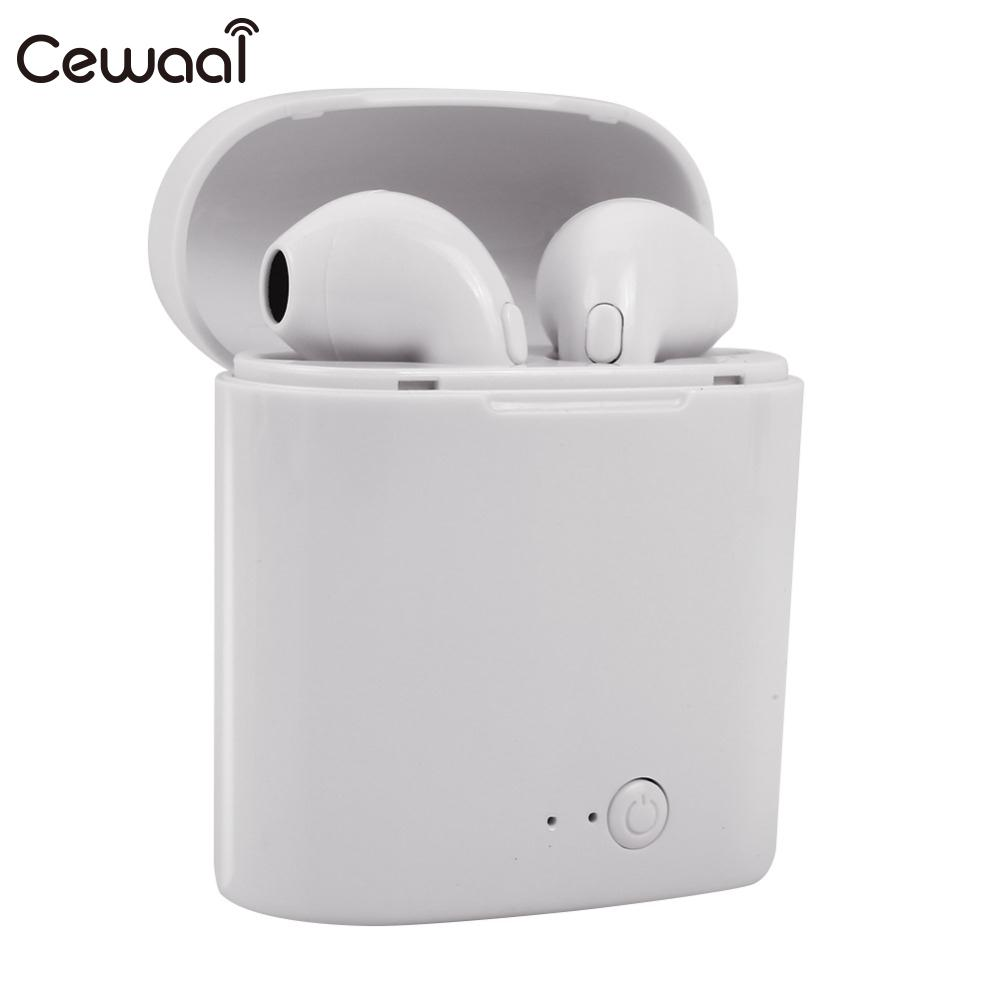 Cewaal i7s TWS Bluetooth Earphone Stereo Earbud Wireless Headphones With Charging Box Mic For xiaomi  All Phone(China)