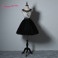 White Lace Appliques Knee Length Cocktail Dress Black Short Prom Dress Women Party Dresses Cheap Dress