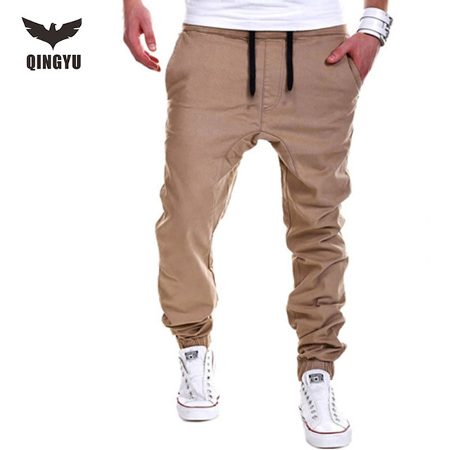 Mens Joggers   Pant 2017 Brand Male Cargo Pants Solid Lacing Slim  Tights Trousers Compression Men Jogger   XXXL