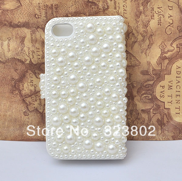Handmade Wallet Style White Pearl Case Cover Shell For Apple iPhone 4 / 4s / 5