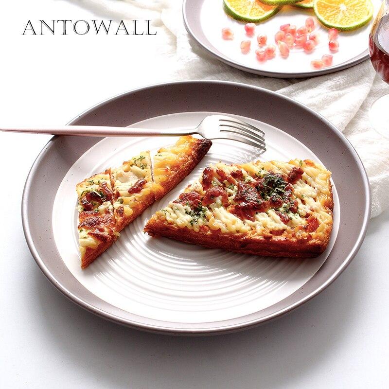 Western Salad Dishes: ANTOWALL European Style Ceramic Whorl Dots Dinnerware