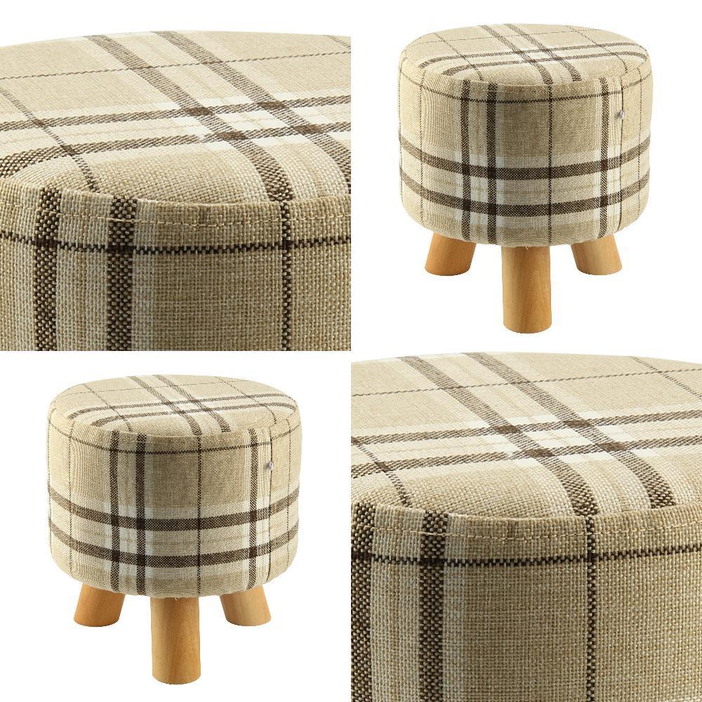 Linen Color Round Triangular Modern Footstool Ottoman Round Stool + Wooden Leg  WoodenLinen Color Round Triangular Modern Footstool Ottoman Round Stool + Wooden Leg  Wooden