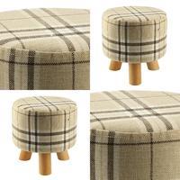 Linen Color Round Triangular Modern Footstool Ottoman Round Stool + Wooden Leg Wooden