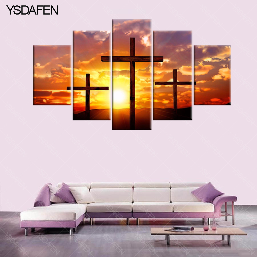 ysdafen 5 piece canvas art christian cross painting hd canvas painting wall art singer prints. Black Bedroom Furniture Sets. Home Design Ideas