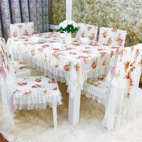 13pcs/ set lace polyester Tablecloth chair cover Dining Chair table Cover Set Home wedding Decor Table Cloth Home Textile