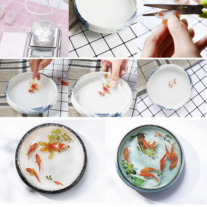 10Pc 3D Real Goldfish Clear Film Sticker For Resin DIY Painting Jewelry Making