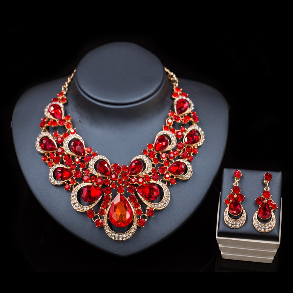 XT QU High quality african bead necklace and drop earring fashion jewelry set for model lady acessories party free shipping