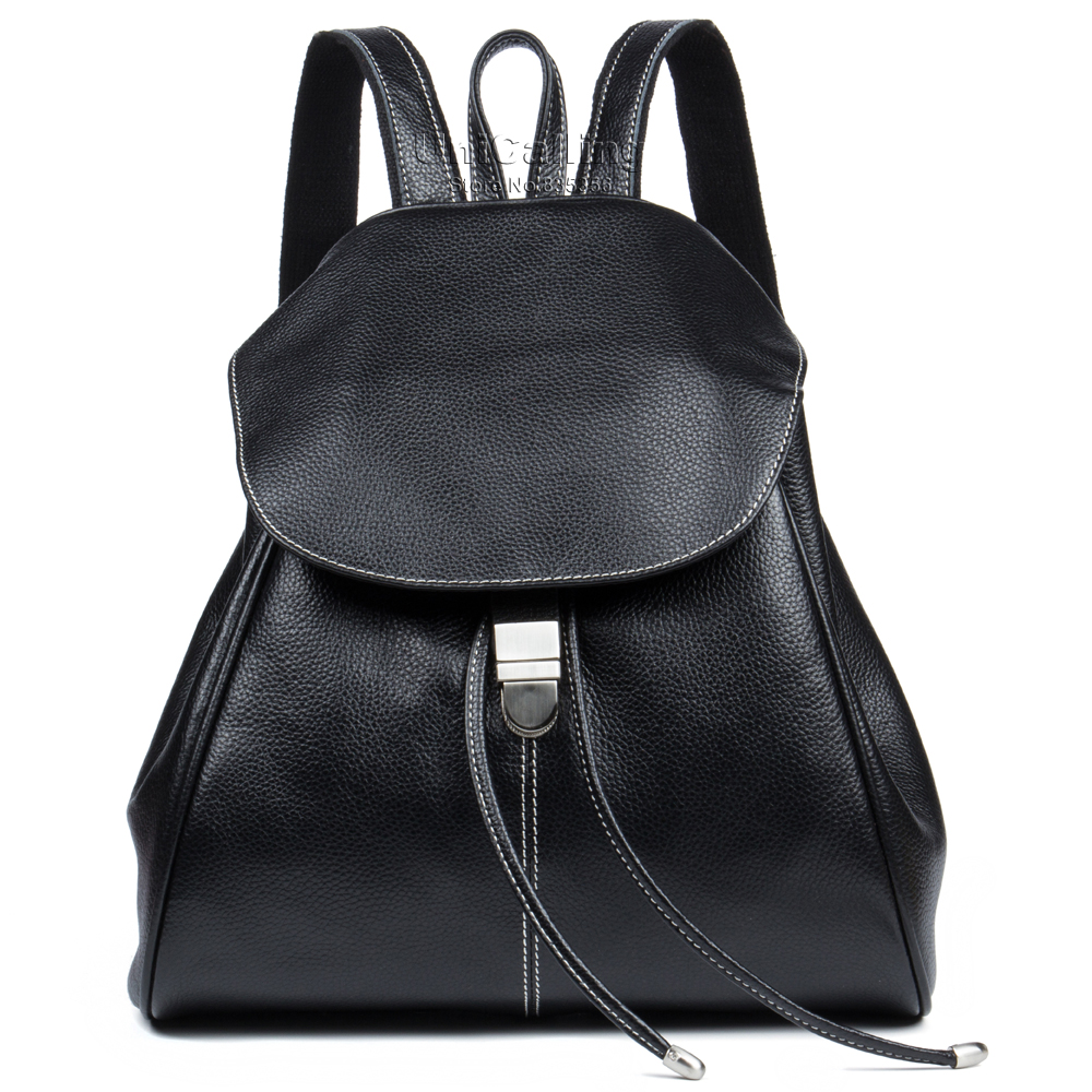 ФОТО Fashion backpack flap cover string opening genuine leather backpack for women brand trendy school backpack for girls 3 colors