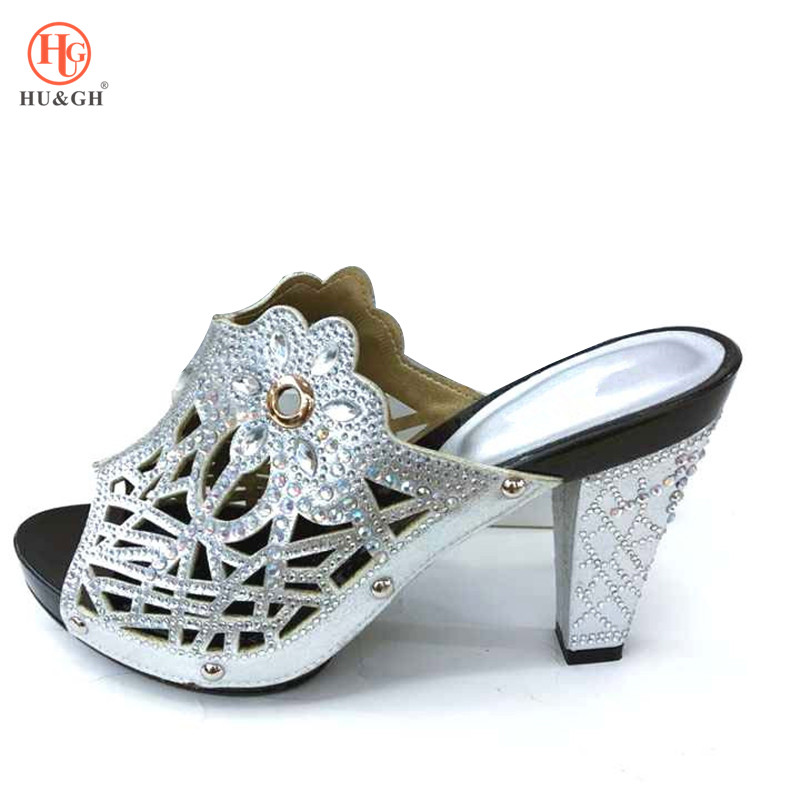 Latest Silver Wedding African Shoes Without Bag Matching Set Italian Shoes Nigerian Shoes Possible With Evening