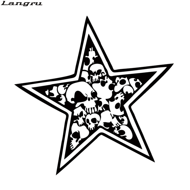 Langru new design star skull sticker car styling car motorcycle vinyl decal nautical skulls and stars