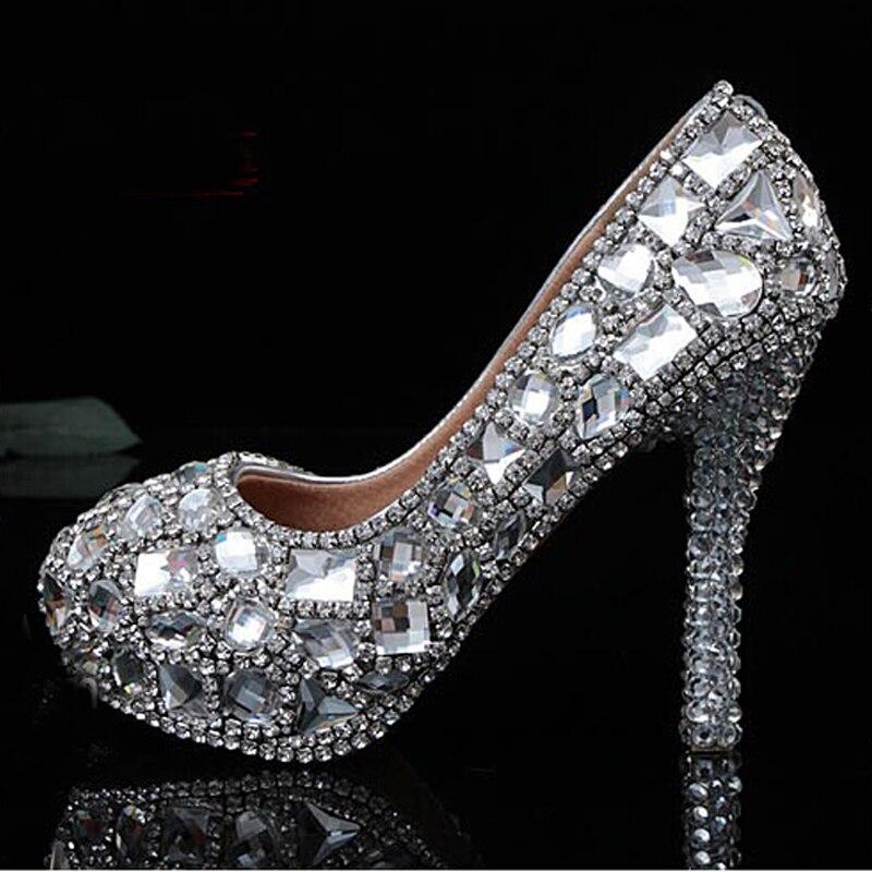Both Sides Rhinestone Wedding Shoes Silver Bridal Dress Full Clear Crystals Rhinestones Low Heel Evening