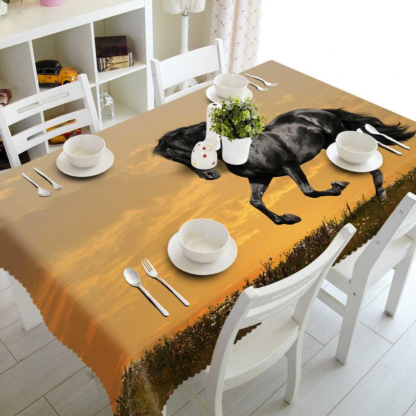 Personalizzabile 3D Tovaglia Africano Steppa Selvaggio del Modello Del Cavallo di Tavolo Da Pranzo panno Addensare Poliestere Rettangolare e Rotondo copertura di tabella