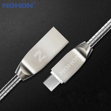 NOHON Micro USB Cable Zinc Metal Charger Cable For Samsung Xiaomi Huawei HTC And