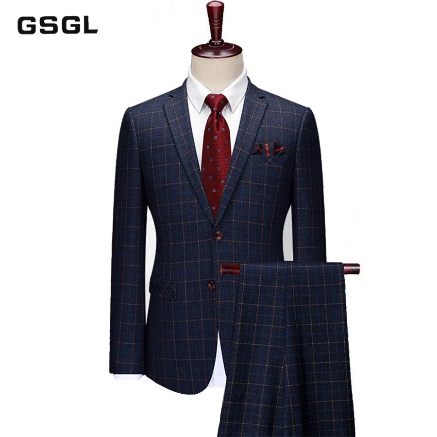 Costume à carreaux 2 pièces pour hommes revers cranté deux boutons costume Slim Blazer veste Tux & pantalon ensemble