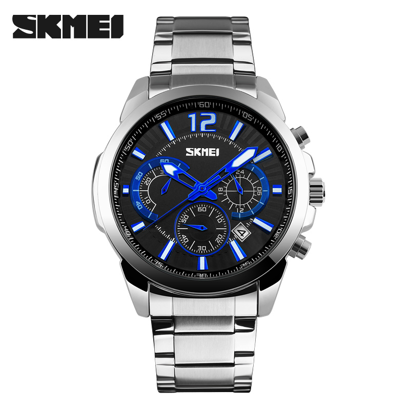 SKMEI Brand Luxury Full Stainless Steel Waterproof Analog Display Date Stopwatch Men's Quartz Watch Business Casual Men Watches