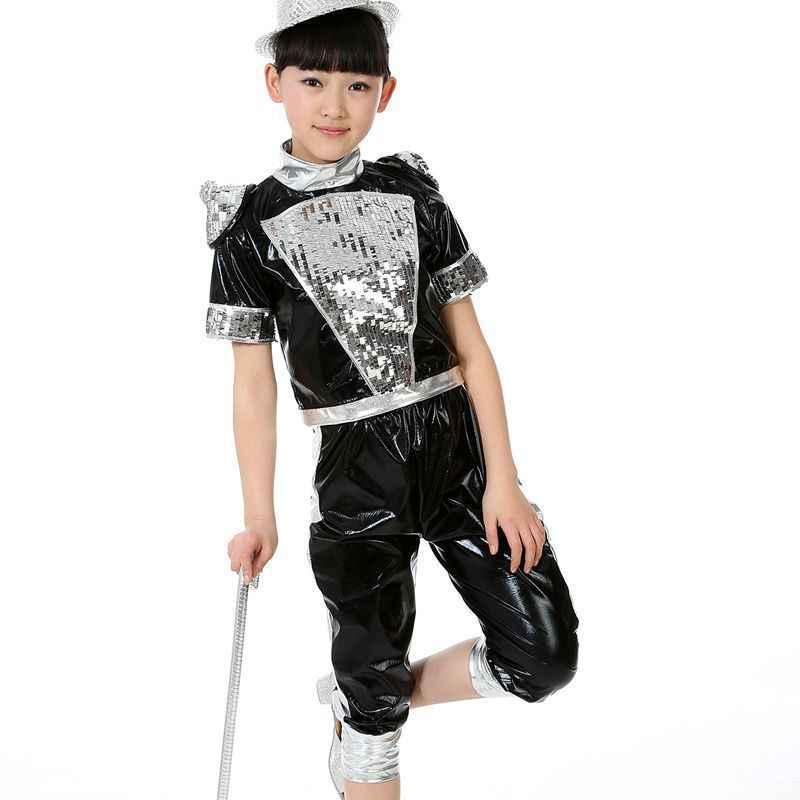 子供のジャズダンスの服の卸売新女の子モダンダンスのパフォーマンス服スパンコールベール現代の服の制服