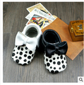 New black polka dots Baby Moccasins Genuine Leather Soft Moccs Baby Shoes Newborn first walkers Anti-slip Infant Shoes Footwear
