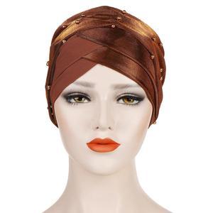 Image 3 - Müslüman kadınlar boncuk başörtüsü elastik türban şapka kemo kanseri kap arap başörtüsü Wrap kapak başörtüsü İslam bandanalar aksesuarları