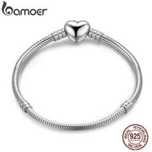 BAMOER autentyczne 100% 925 srebrny łańcuszek żmijka łańcuch chwile bransoletka z serduszkiem i bransoletka luksusowa biżuteria srebrna PAS917