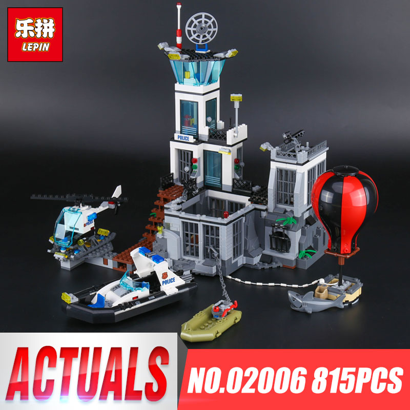 Lepin 02006 Genuine 815Pcs City Series The Prison Island Set Building Blocks Bricks Educational Funny 60130 Toys For Kid`s Gifts lepin 02006 815pcs city police series the prison island set building blocks bricks educational toys for children gift legoings