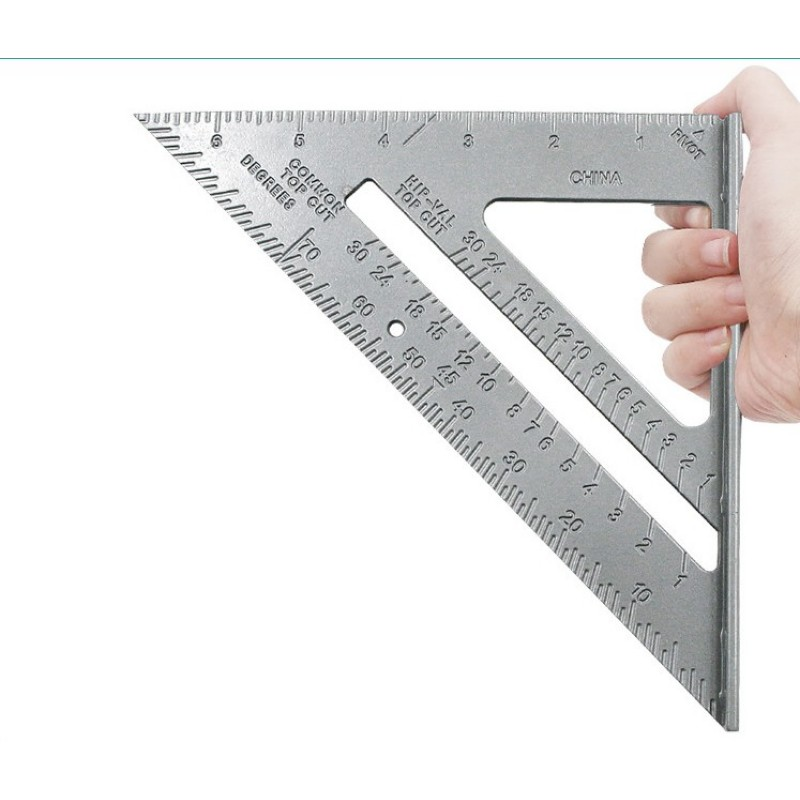 Aluminun Alloy Triangle Ruler 90 Degree 45 Degree Square DIY Measuring Ruler Layout Tool Woodworking Gauges Tools