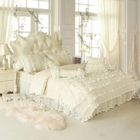 Girls Princess style Lace Pink Bedding set Luxury Twin Queen King size Bed set Cotton Bed skirt Duvet cover set Soft Bedclothes
