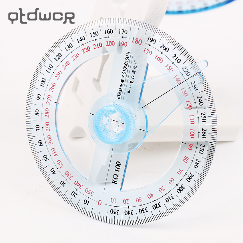 1PC New Tool 360 Degree Pointer Protractor Round Transparent Drafting Supplies Protractor Office And School Supplies
