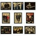 Musa Do Vintage Retro rock band music Guitarra Fosco Kraft Papel Poster Adesivo de Parede Casa Decora